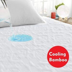 PUREDREAM Premium Bamboo Cooling Waterproof Mattress Protector