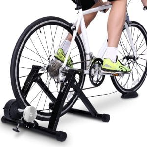 Sportneer Bike Trainer Stand Steel Bicycle Exercise Magnetic Stand with Noise Reduction Wheel