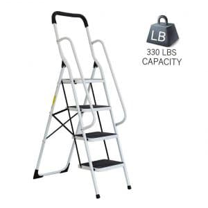 Dporticus Anti-Slip Portable Four-Step Ladder with Wide Pedal