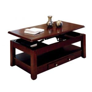 Lift-top Cherry Finish Coffee Table with Bottom Shelf and Storage Drawers