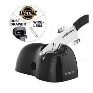 FUNKUK Electric knife sharpener, metal knife Portable & Wireless