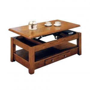 LIFT TOP COFFEE TABLE with BOTTOM SHELF OAK and STORAGE DRAWERS