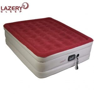 """Lazery Sleep Air Mattress – Raised Electric Airbed with Built in Pump & Carry Bag – Fast Inflation, LED Remote Control & 7 Firmness Settings –Queen 78"""" x 58"""" x 19"""""""