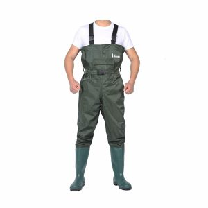 Ouzong Bootfoot Cleated 2-Ply Nylon Chest Waders (Green and Camo 9-13)