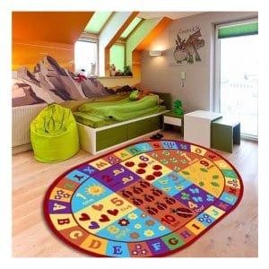 Furnish my Place Educational Antiskid Oval Area Rug, Multicolor