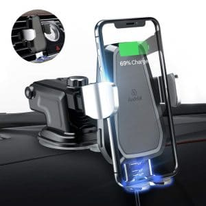 Silver Windshield Dash Air Vent Phone Holder and Types of Smartphone R3 Wireless Car Charger IR Inducing Smart Sensor Wireless Car Charger Fast Charging Auto-Clamping Car Mount