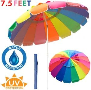 PIEDLE 7.5Ft Rainbow Beach Umbrella