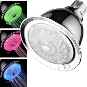 Luminex by PowerSpa 7-Color 4-Setting LED Shower Head with Air Jet LED Turbo Pressure-Boost Nozzle Technology LED colors change automatically every few seconds
