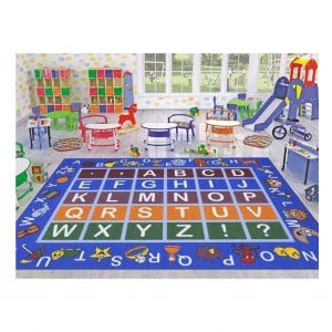 Ottomanson Jenny Collection Area Rug with Multiple Colors for Kids (Non-Slip), Blue