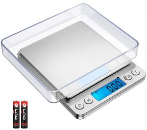 AMIR Digital Kitchen Scale, 500g: 0.01g Mini Pocket Jewelry Scale, Cooking Food Scale with Back-Lit LCD Display, 2 Trays, 6 Units, Auto Off, Tare, PCS Function, Stainless Steel, Batteries Included