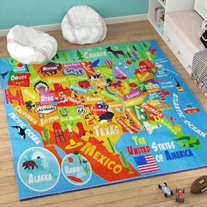 KC CUBS Playtime Educational Area Rug for Kids