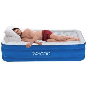 """RayGoo Air Mattress Twin Size Airbed Luxury Raised Inflatable Mattress with Built-in Electric Pump, Elevated Raised Air Mattress Quilt Top, Height 20"""", 3-Year Warranty"""
