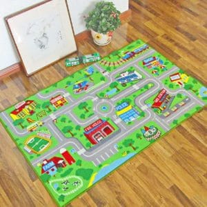 HEBE Kids Rugs Washable Educational Learning Carpet, Blue (3.3′ x 4.3′)