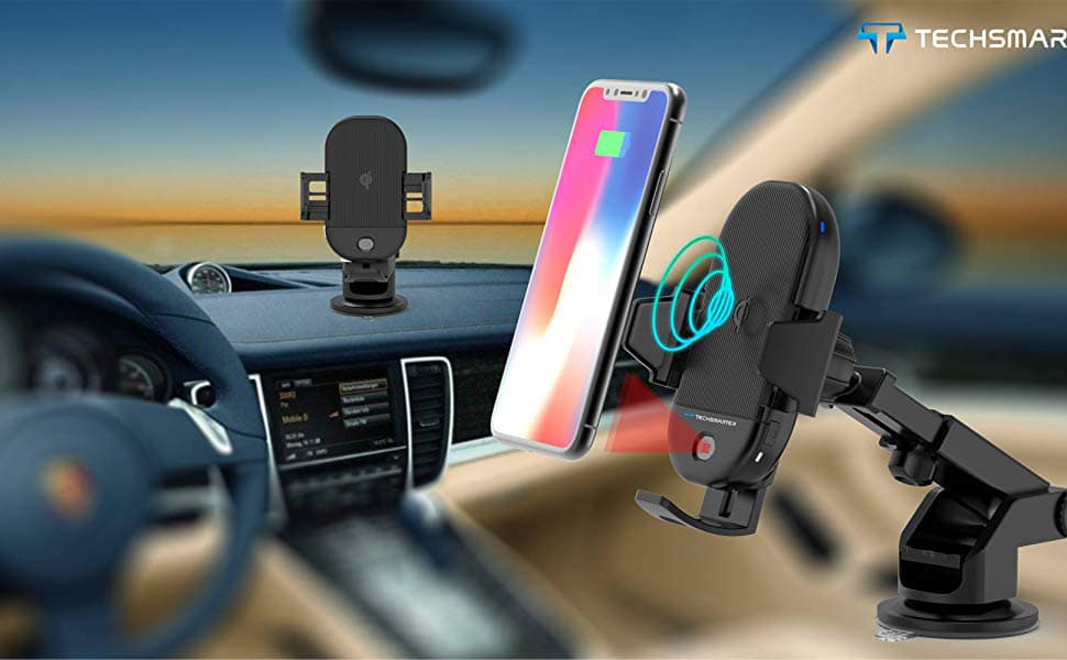 Upgraded Cup Phone Holder Wireless Car Charger Mount,WALOTAR Triangle Linkage Infrared Smart Sensing Qi 10W Fast Charging Cell Phone Mount,Universal Adjustable Auto-Clamping Car Phone Air Vent Cradle