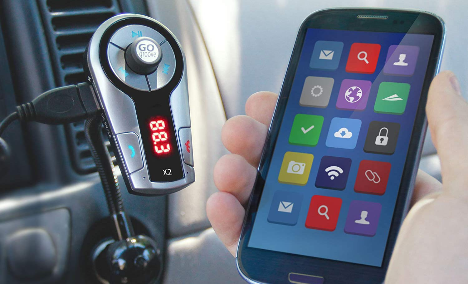 Audio Playback and USB Charging Tablets GOgroove FlexSMART X3 Bluetooth FM Transmitter Car Kit with Hands-free Calling Android MP3 Players and more Bluetooth Devices Works with Apple iPhone
