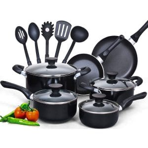 Cook N Home Nonstick 15-Piece Cool Handle Cookware Set