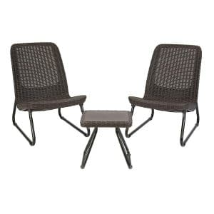 Keter Rio All Weather 3 Pc Outdoor Patio Chair and Table Set Furniture