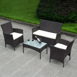 Costway 4 PC Patio Rattan Wicker Sofa Chair Table Set