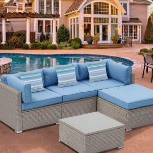 HOMPUS Outdoor 5 Piece Sectional Sofa
