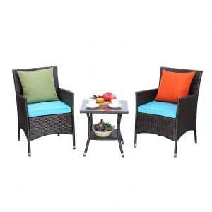 Do4U 3 Pieces Outdoor Wicker Bistro Patio Furniture Set (918-MIX-TRQ)