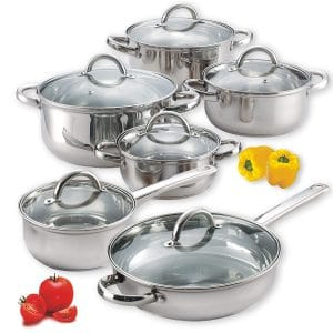 Cook N Home 12-Piece NC-00250 Stainless Steel Cookware