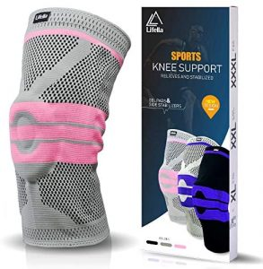 Lifella Knee Brace, Compression Sleeve FDA Approved with Patella Gel Pads & Side Stabilizers - support for Arthritis, ACL, Running, Biking, Basketball Sports, Joint Pain Relief