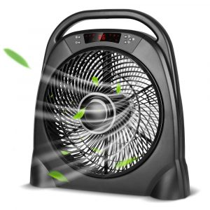 TRUSTECH Remote Floor Fan, 12 Inch Quiet Table Fan with Adjustable Speeds & Automatic Shutoff Timer, Sleep & Powerful Modes,