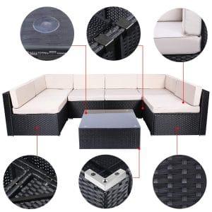 U-MAX 7 Pieces Sofa Set Chair Set Table Patio Furniture Black