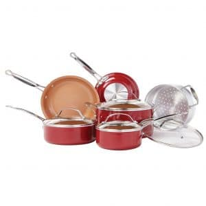 BulbHead (10824) 10 PC Red Copper Non-Stick Cookware Set