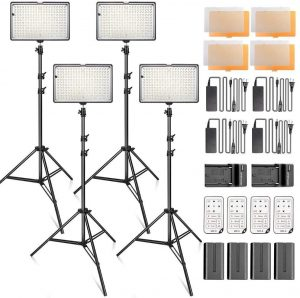 SAMTIAN 4-Pack Dimmable LED Video Lights