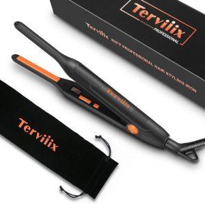 Terviiix Small Flat Iron for Short Hair, Temperature Adjustable Mini Hair Straightener Fast Heat Up, 3 10 Inch Beard Straightening Iron Dual Voltage with Tourmaline Ceramic Plates
