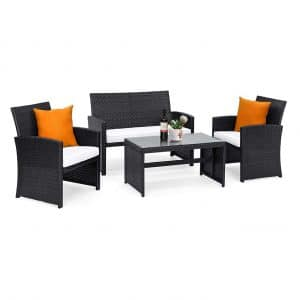 Goplus Rattan Patio 4-Piece Weather Resistant Furniture Set (Black)