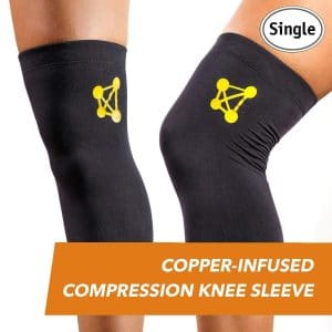 CopperJoint – Compression Knee Sleeve Copper-Infused, Promotes Increased Blood Flow to The Knee While Supporting Tendons & Ligaments for All Lifestyles, Single Sleeve