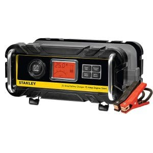 STANLEY BC25BS Fully Automatic 25 Amp 12V Bench Battery Charger:Maintainer with 75A Engine Start, Alternator Check, Cable Clamps