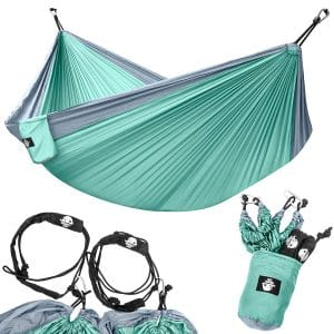 Legit Camping Double Hammock with Nylon Straps and Steel Carabiners