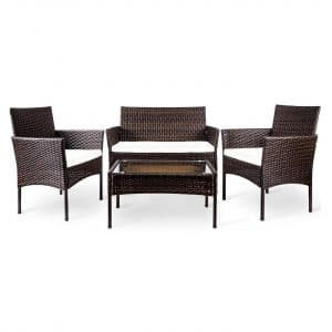 Merax 4 PC Outdoor Garden Cushioned Seat Rattan Patio Furniture Set (Brown)