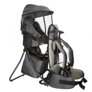 Clevr Premium Cross Country Baby Backpack Hiking Child Carrier with Stand and Sun Shade Visor Kid Toddler, Grey   Lightweight - 5lbs   1 Year Limited Warranty