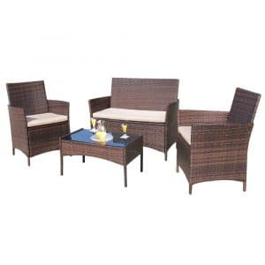 Homall 4 Pieces Outdoor Indoor Patio Furniture Sets (Medium)
