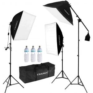 CRAPHY Professional Continuous SoftBox Lighting Kit