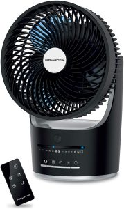 Rowenta VU2410U7 Turbo Silence Air Circulator Full 360 Degree Oscillation Fan with Remote Control, Black