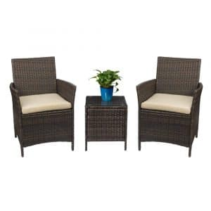 Devoko Patio Porch 3 Pieces Furniture Sets (Brown)