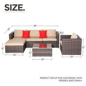 SUNCROWN Outdoor Patio Waterproof Cover 6-Piece Set Furniture