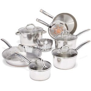 T-fal Stainless Steel Pots and Pans Cookware Set, Model C836SD