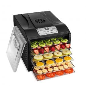 Magic Mill Professional Dehydrator Machine, Stainless Steel Construction, Black