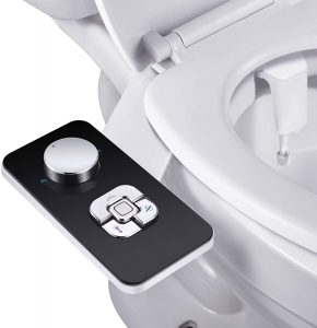 SAMODRA Non-electric Cold Water Bidet Toilet Seat Attachment with Pressure Controls,Retractable Self-cleaning Dual Nozzles for Frontal & Rear Wash