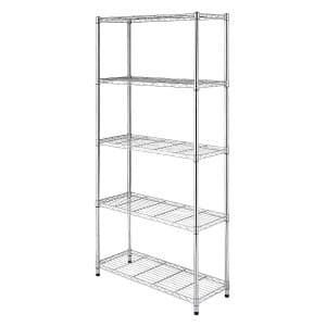 Whitmor Supreme 5 Tier Adjustable Shelving and Leveling Feet - Chrome
