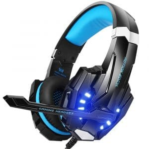 BENGOO G9000 Stereo Gaming Headset for PS4, PC, Xbox One Controller, Noise Cancelling Over Ear Headphones with Mic, LED Light, Bass Surround, Soft Memory Earmuffs for Laptop