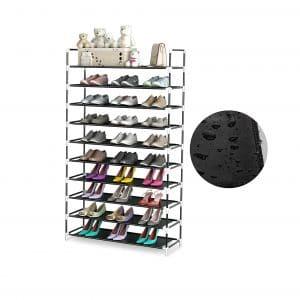 QooWare 10 Tiers Shoe Rack PP Plastic Construction