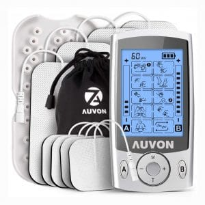 "AUVON Dual Channel TENS Unit Muscle Stimulator Machine with 20 Modes, 2"" and 2""x4"" TENS Unit Electrode Pads"