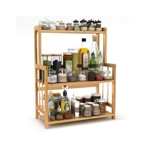 LITTLE TREE 3-Tier Standing Kitchen Countertop Spice Rack, Bamboo